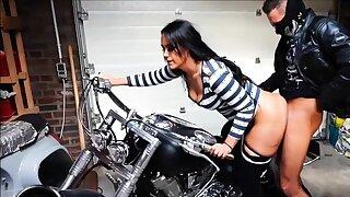 german biker bitch get creampie in bike