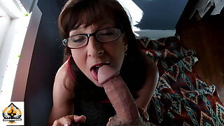 Sexy Granny Wearing Glasses Sucks and Drains A Fat Horseshit