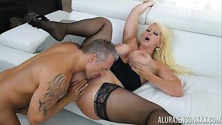adult cougar Alura Jenson - Marcus London Black Dress