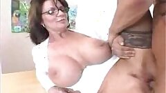 Busty Milf Teacher close to Stockings Fucks