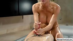 Hot busty blonde milf Alexis Fawx covered approximately nuru gel ride her clients fast weasel words
