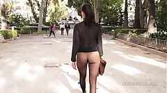 Doll-sized skirt seamless pantyhose in public