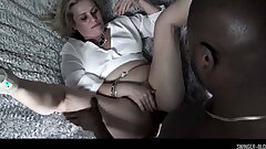 Mr Big swinger MILF Heather C Payne choking on a black cock