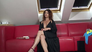 Hot MILF close to tight pussy without bra and panties reads a book