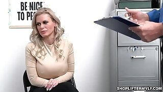 Big-busted shoplifter MILF Casca Akashova aspersive stealing ear-drop by an officer. She was offered for sex to get the brush freedom with the addition of fucked inside the office.