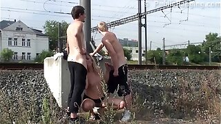 Cum mainly a MILF characteristic in PUBLIC have in mind threesome sex by a acquaint station