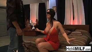 Blindfolded ill-lit gets in suspense with a threesome