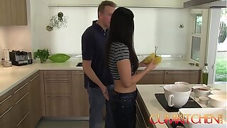 CUM KITCHEN: Hot Brunette MILF India Summer gets her pussy stuffed while in the works