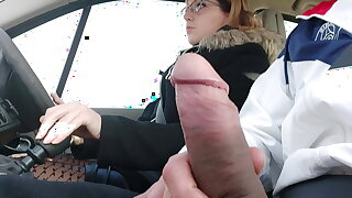 Caught hitchhiking, I take the risk of pulling my cock out..
