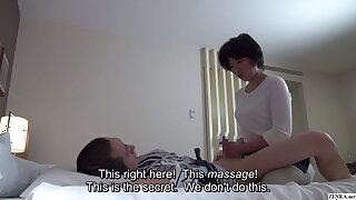 Japanese motel massage – full-grown masseuse gives handjob